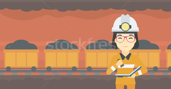 Miner checking documents vector illustration. Stock photo © RAStudio