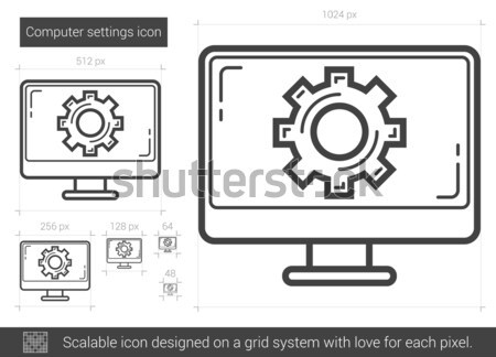 Computer settings line icon. Stock photo © RAStudio