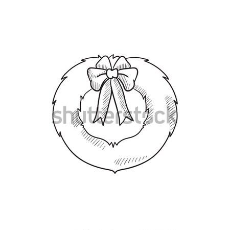 Stok fotoğraf: Noel · çelenk · kroki · ikon · vektör · yalıtılmış