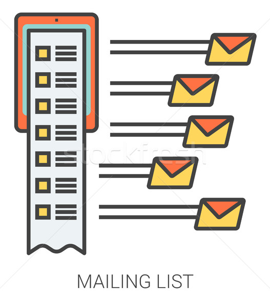 Mailing list line icons. Stock photo © RAStudio