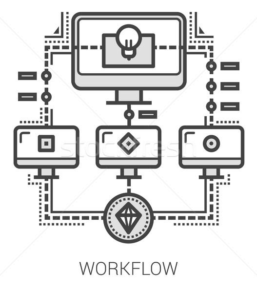 Flusso di lavoro line icone infografica metafora progetto Foto d'archivio © RAStudio
