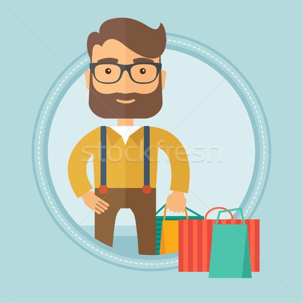 Man with shopping bags vector illustration. Stock photo © RAStudio