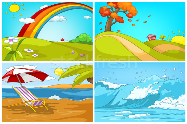 Vector cartoon set of landscapes backgrounds. Stock photo © RAStudio