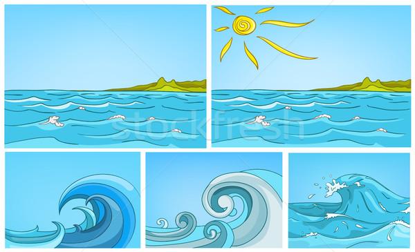 Vector cartoon set of sea backgrounds. Stock photo © RAStudio