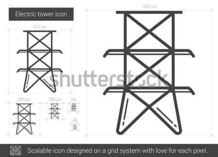 электрических башни линия икона вектора изолированный Сток-фото © RAStudio