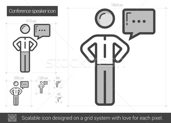 Konferencia hangszóró vonal ikon vektor izolált Stock fotó © RAStudio