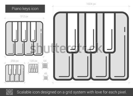 Pianotoetsen lijn icon vector geïsoleerd witte Stockfoto © RAStudio