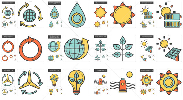 Stock photo: Ecology line icon set.