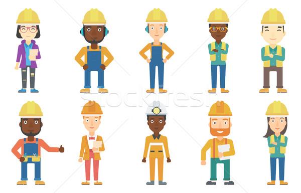 ストックフォト: ベクトル · セット · 職業 · 小さな · ビルダー