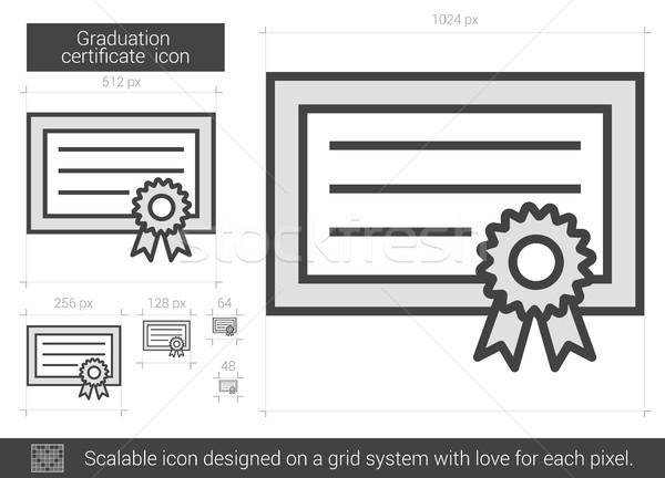 Stock fotó: érettségi · bizonyítvány · vonal · ikon · vektor · izolált