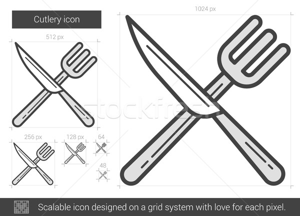 Cutlery line icon. Stock photo © RAStudio