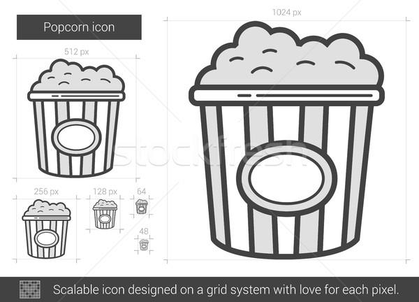 Popcorn lijn icon vector geïsoleerd witte Stockfoto © RAStudio