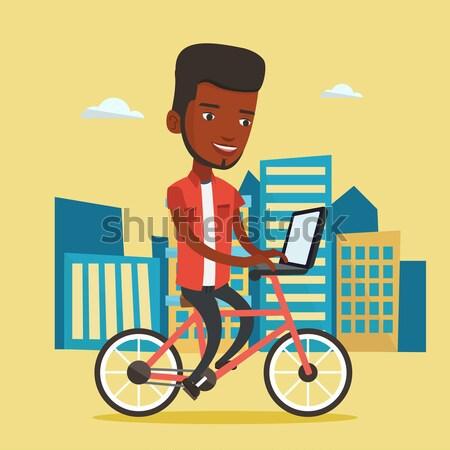 Stock fotó: üzletember · lovaglás · bicikli · város · ázsiai · munka