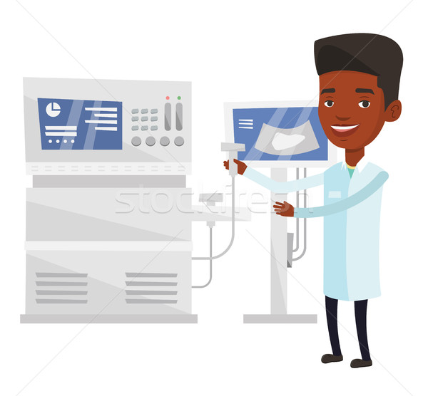 Ultrasons médecin jeunes opérateur machine foie Photo stock © RAStudio