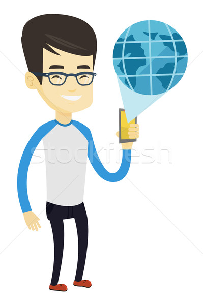 Internationale technologie communicatie asian zakenman Stockfoto © RAStudio