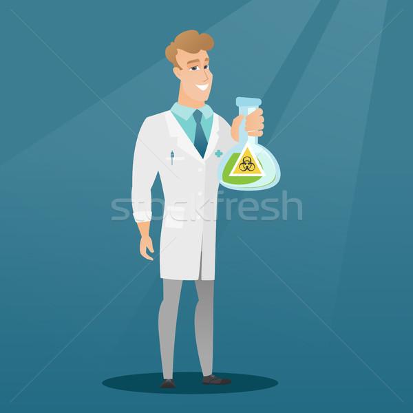 Tudós tart flaska bioveszély felirat kaukázusi Stock fotó © RAStudio