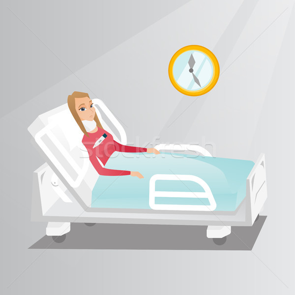 Woman with a neck injury vector illustration. Stock photo © RAStudio