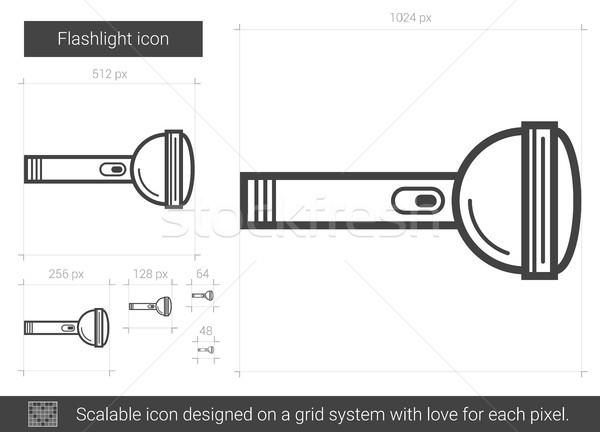 Lampe de poche ligne icône vecteur isolé blanche Photo stock © RAStudio