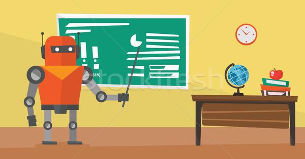 Robot teacher standing with pointer in classroom. Stock photo © RAStudio