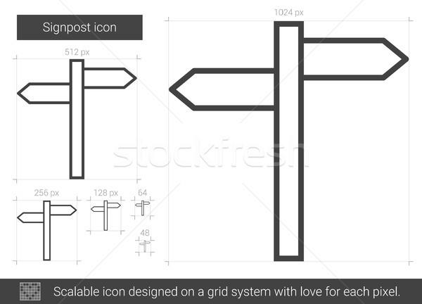 Poste de sinalização linha ícone vetor isolado branco Foto stock © RAStudio