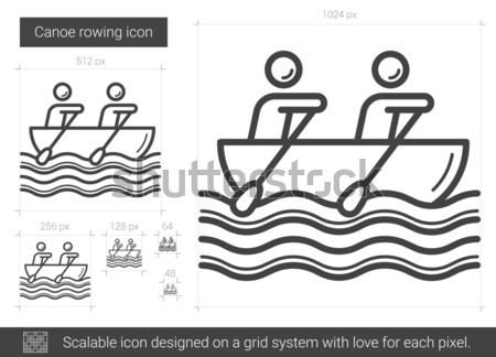 Canoa remo linha ícone vetor isolado Foto stock © RAStudio