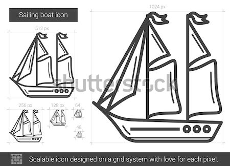 Sailing boat line icon. Stock photo © RAStudio