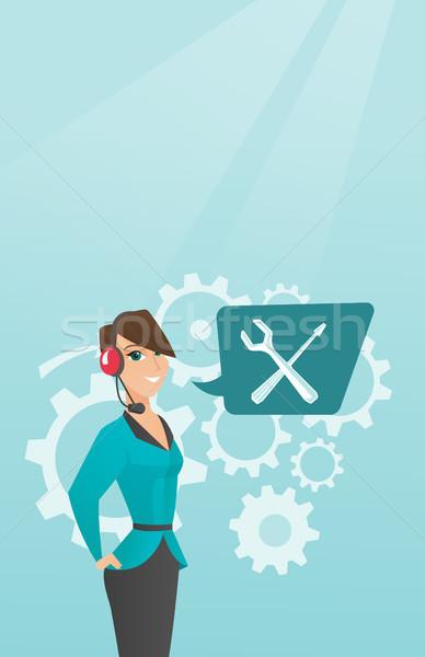 Jonge kaukasisch technische ondersteuning exploitant vrouwelijke Stockfoto © RAStudio