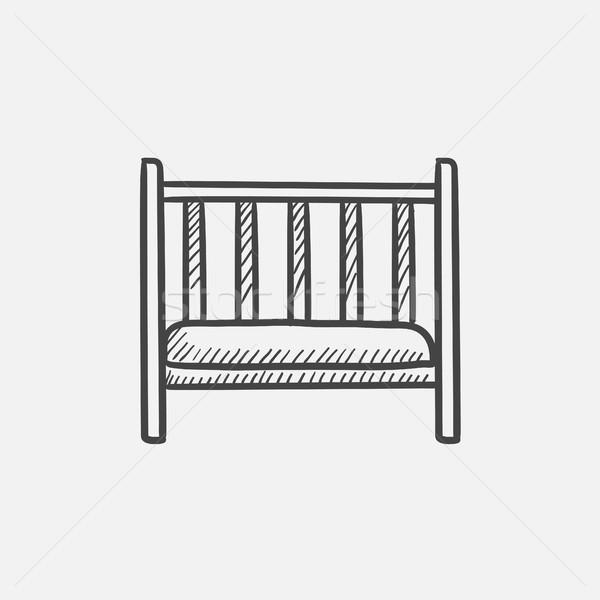 Baby cot sketch icon. Stock photo © RAStudio