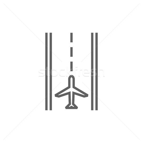Aeroporto pista linha ícone teia Foto stock © RAStudio