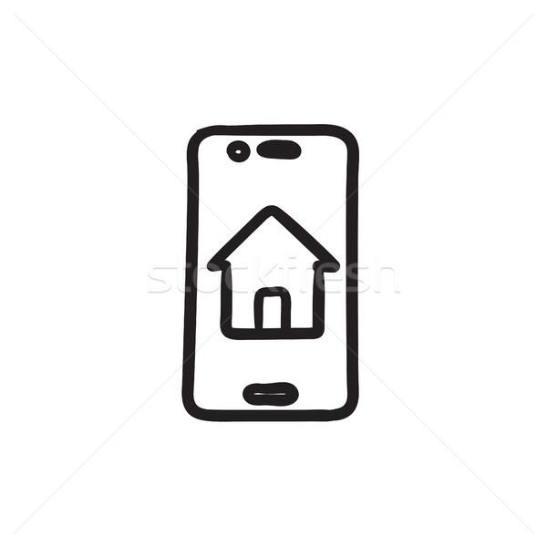 Property search on mobile device sketch icon. Stock photo © RAStudio