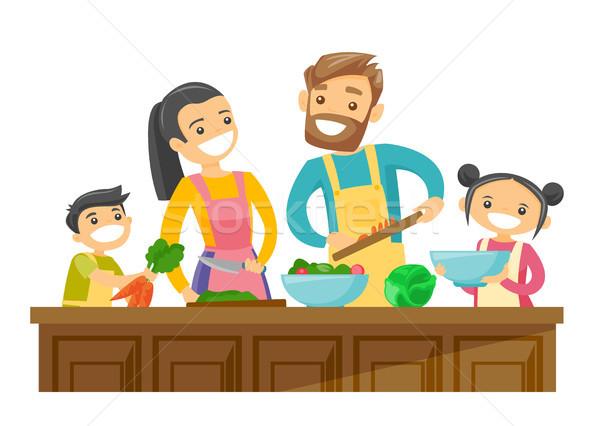 Сток-фото: кавказский · белый · родителей · дети · приготовления · вместе