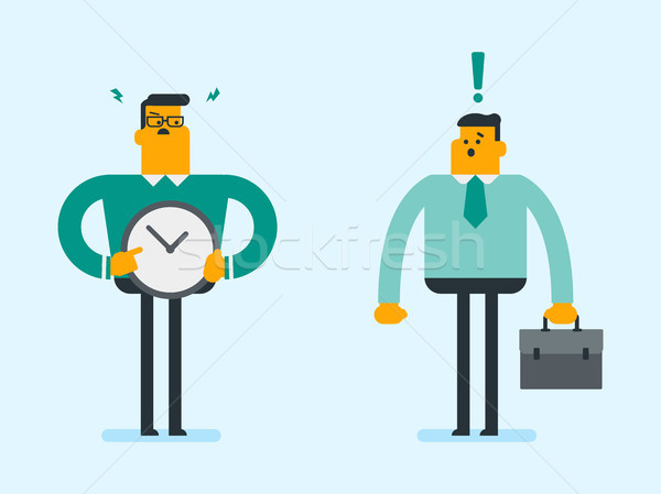 Boos kaukasisch werkgever wijzend tijd klok Stockfoto © RAStudio