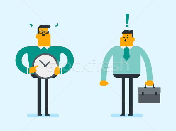 Colère employeur pointant temps horloge Photo stock © RAStudio