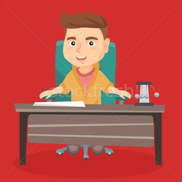 Caucasian boy playing the role of office worker. Stock photo © RAStudio