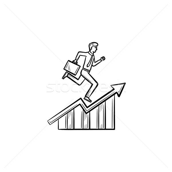 Employee running up hand drawn sketch icon. Stock photo © RAStudio