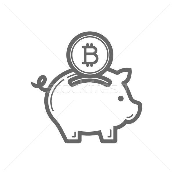 Bitcoin piggy bank savings line icon. Stock photo © RAStudio