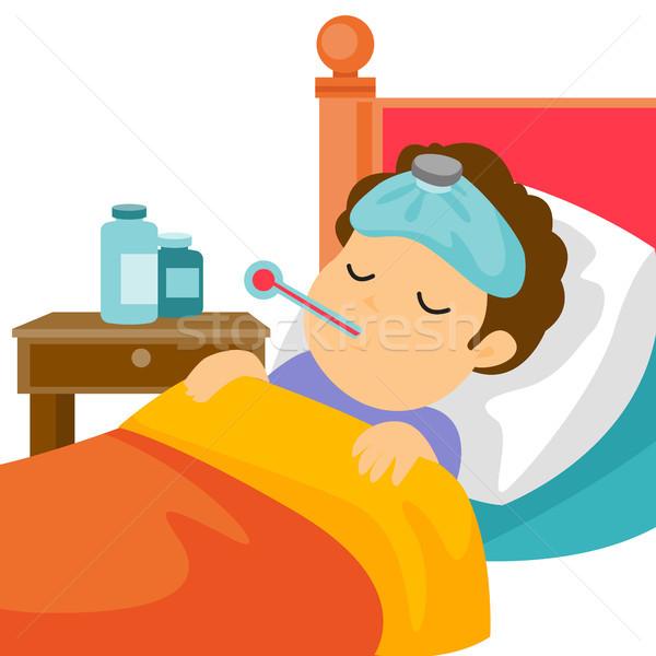 Chorych biały człowiek bed gorączka Zdjęcia stock © RAStudio