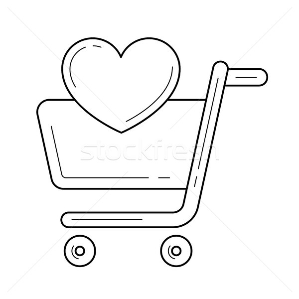 Supermarket cart with heart line icon. Stock photo © RAStudio