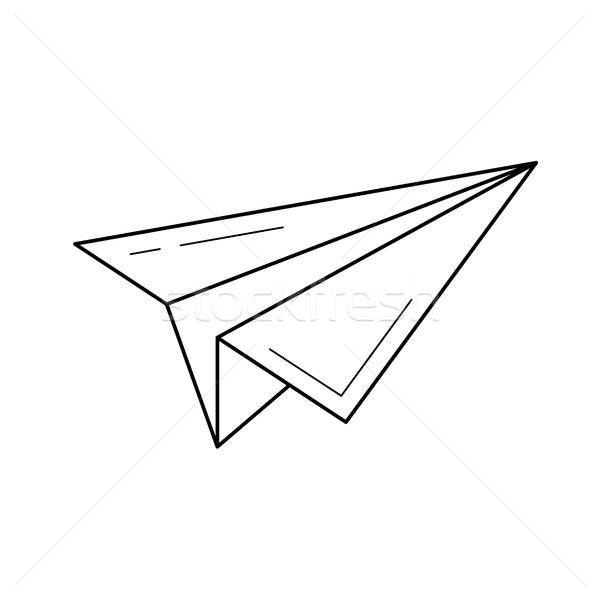 Wysłać papieru płaszczyzny line ikona wektora Zdjęcia stock © RAStudio