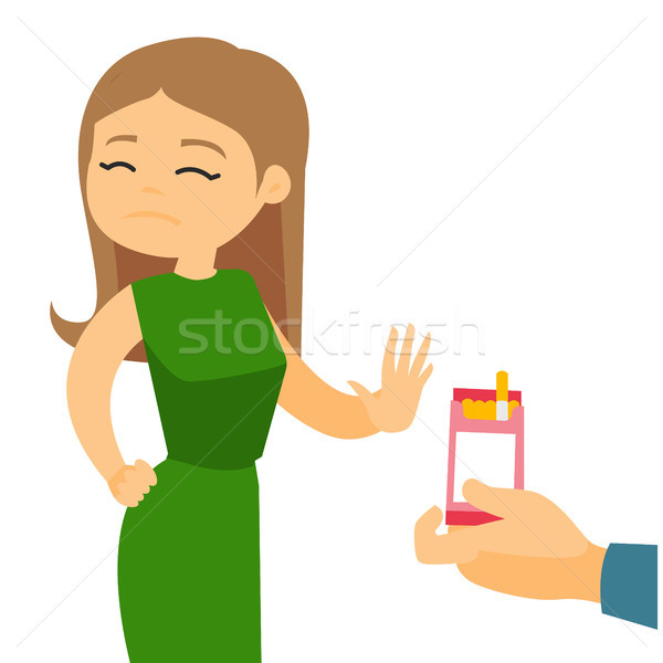 Young caucasian woman refusing to take a cigarette Stock photo © RAStudio