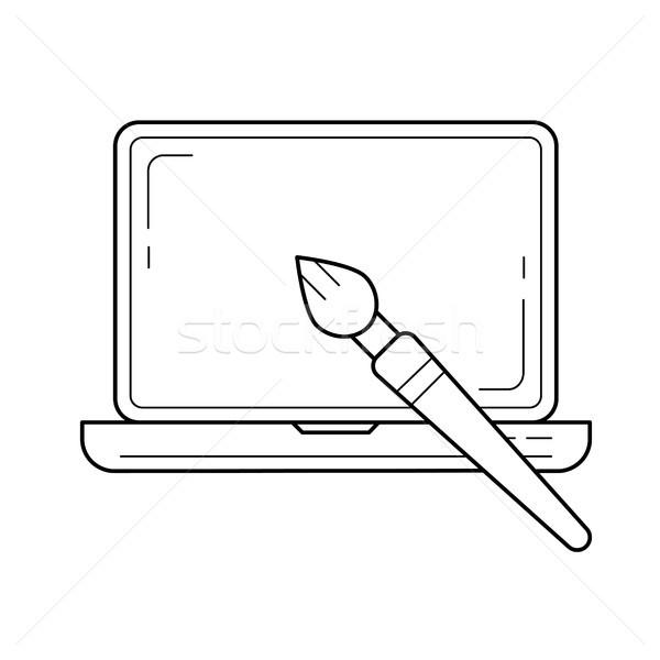 Elrendezés terv vonal ikon vektor izolált Stock fotó © RAStudio