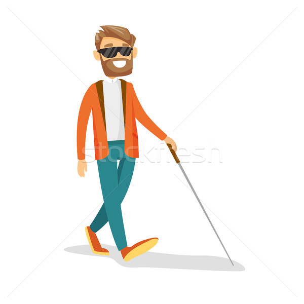 Young caucasian white blind man with a stick. Stock photo © RAStudio