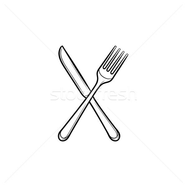 Fork and knife hand drawn sketch icon. Stock photo © RAStudio