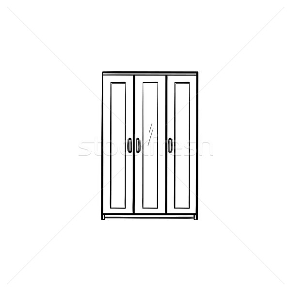 Wardrobe furniture hand drawn sketch icon. Stock photo © RAStudio