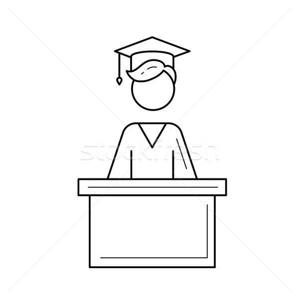 üniversite mezuniyet öğrenci vektör hat ikon Stok fotoğraf © RAStudio