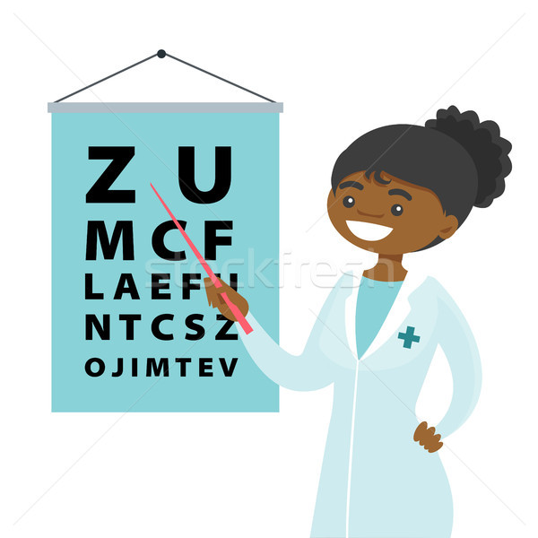 African-american ophthalmologist with eye chart. Stock photo © RAStudio