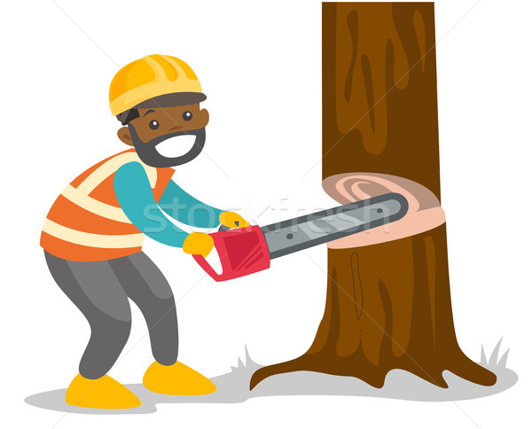 African-american woodcutter working with chainsaw Stock photo © RAStudio