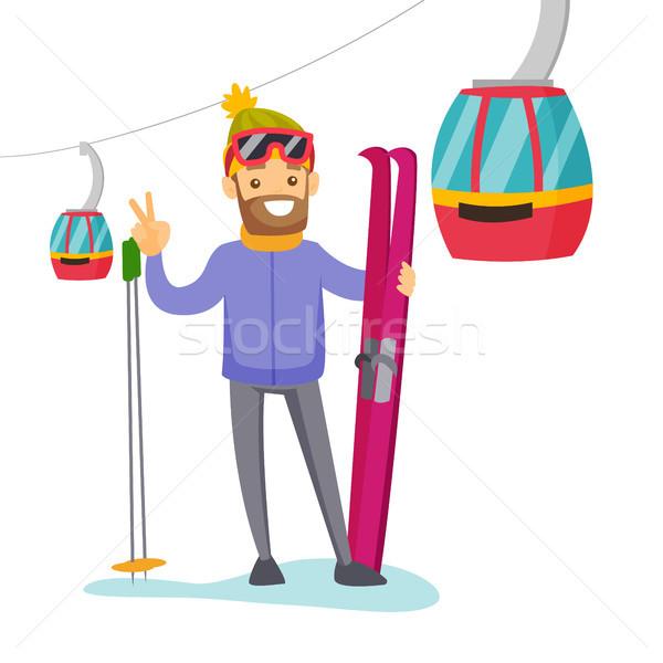 スキーヤー スキー リゾート 白人 白人 立って ストックフォト © RAStudio