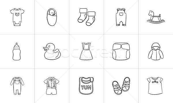 Stockfoto: Kinderen · schets · kleding