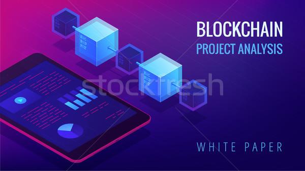 Isometric blockchain project analysis concept. Stock photo © RAStudio